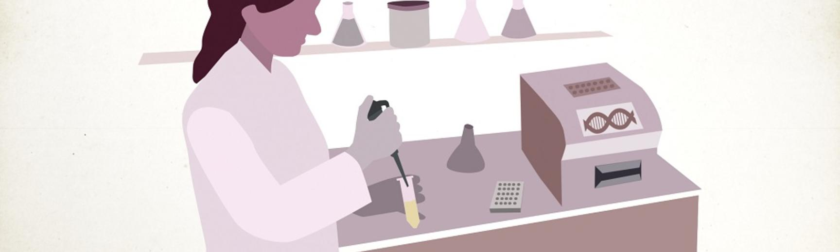 Schematic drawing of woman holding pipette and test tube in lab